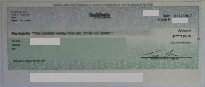 Cash Crate Payment in December 2017